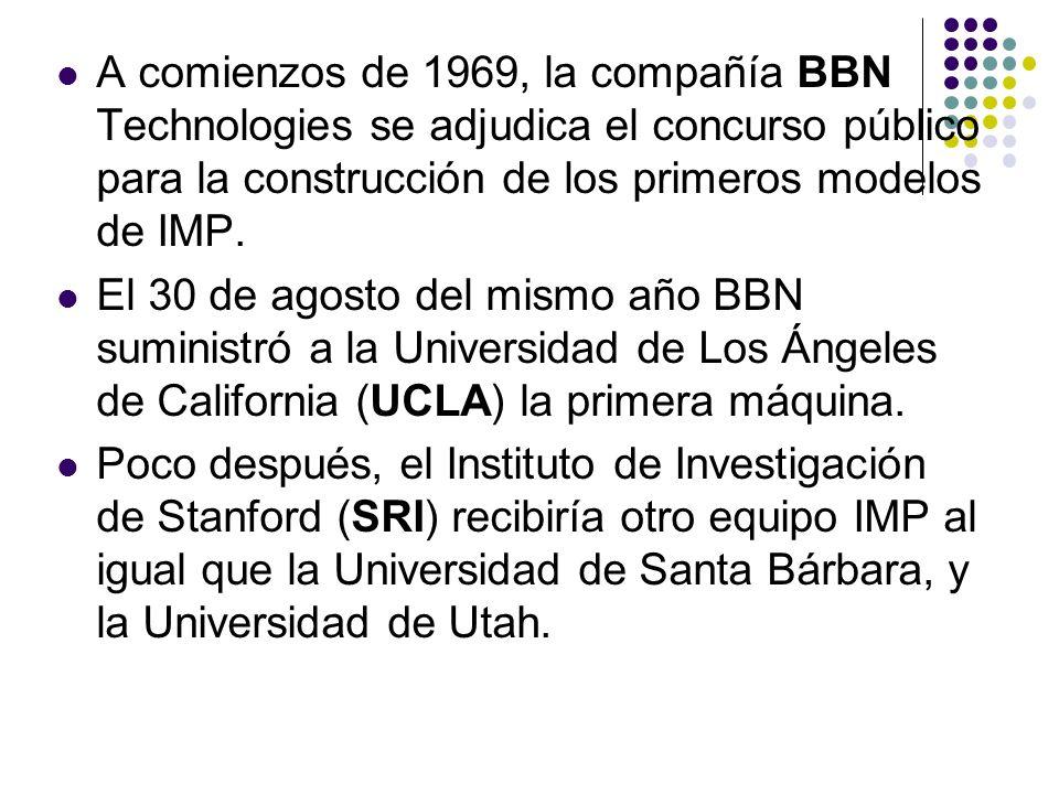 A comienzos de 1969, la compañía BBN Technologies se adjudica el concurso público para la construcción de los primeros modelos de IMP. El 30 de agosto