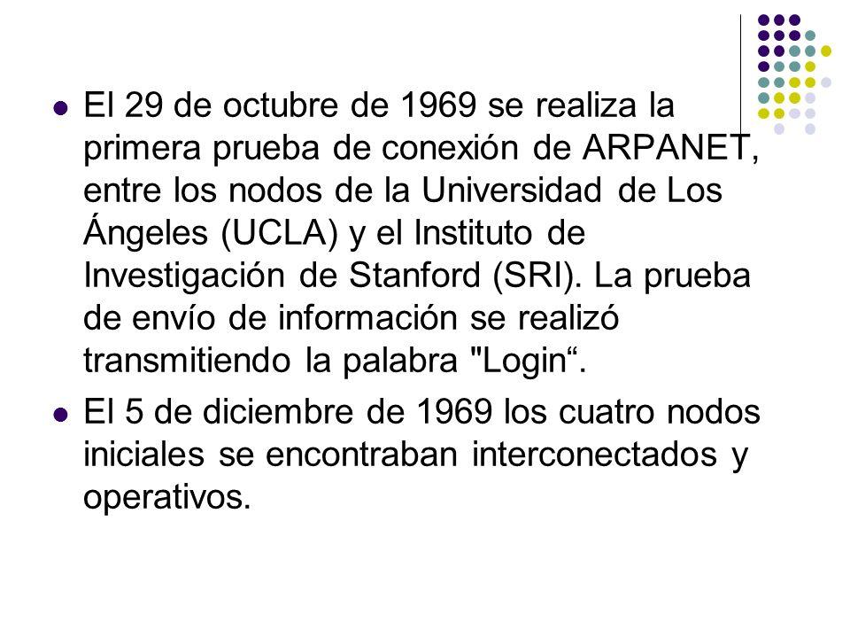 El 29 de octubre de 1969 se realiza la primera prueba de conexión de ARPANET, entre los nodos de la Universidad de Los Ángeles (UCLA) y el Instituto d