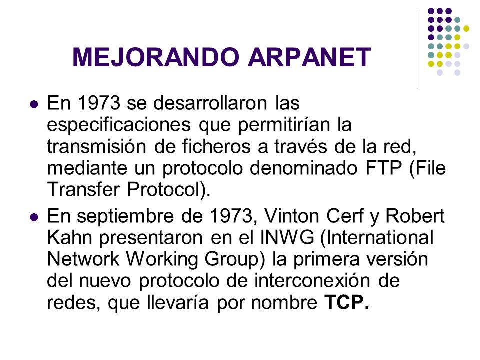 MEJORANDO ARPANET En 1973 se desarrollaron las especificaciones que permitirían la transmisión de ficheros a través de la red, mediante un protocolo d