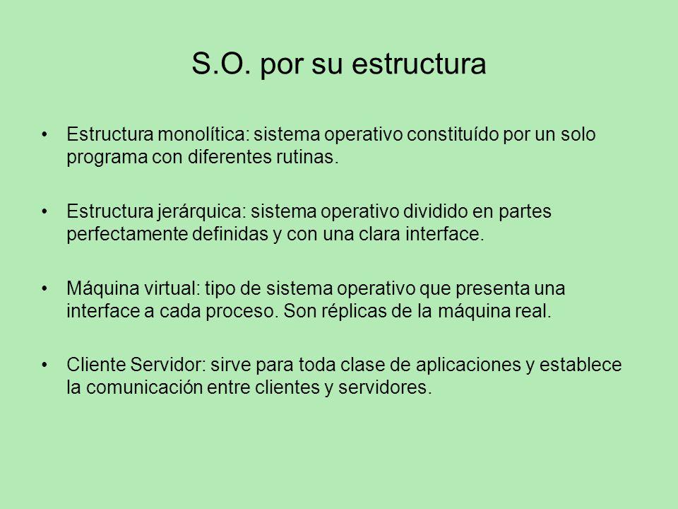 S.O. por su estructura Estructura monolítica: sistema operativo constituído por un solo programa con diferentes rutinas. Estructura jerárquica: sistem