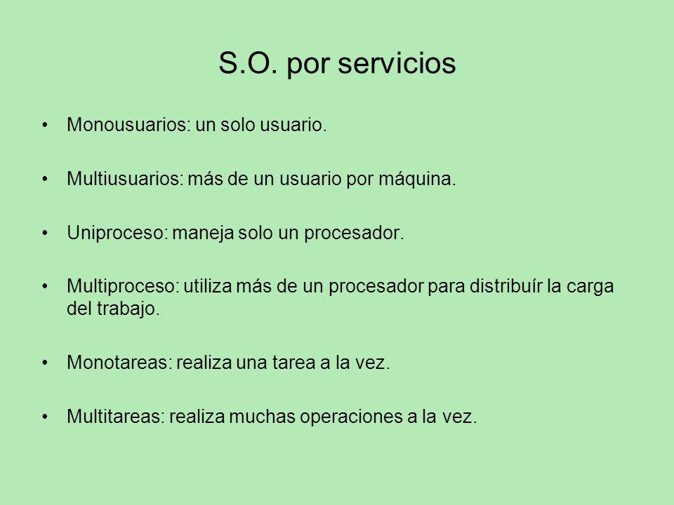 S.O. por servicios Monousuarios: un solo usuario. Multiusuarios: más de un usuario por máquina. Uniproceso: maneja solo un procesador. Multiproceso: u