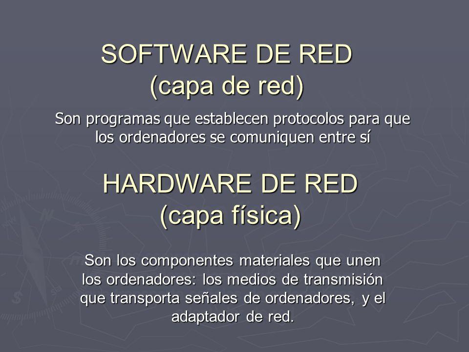 SOFTWARE DE RED (capa de red) Son programas que establecen protocolos para que los ordenadores se comuniquen entre sí HARDWARE DE RED (capa física) HA
