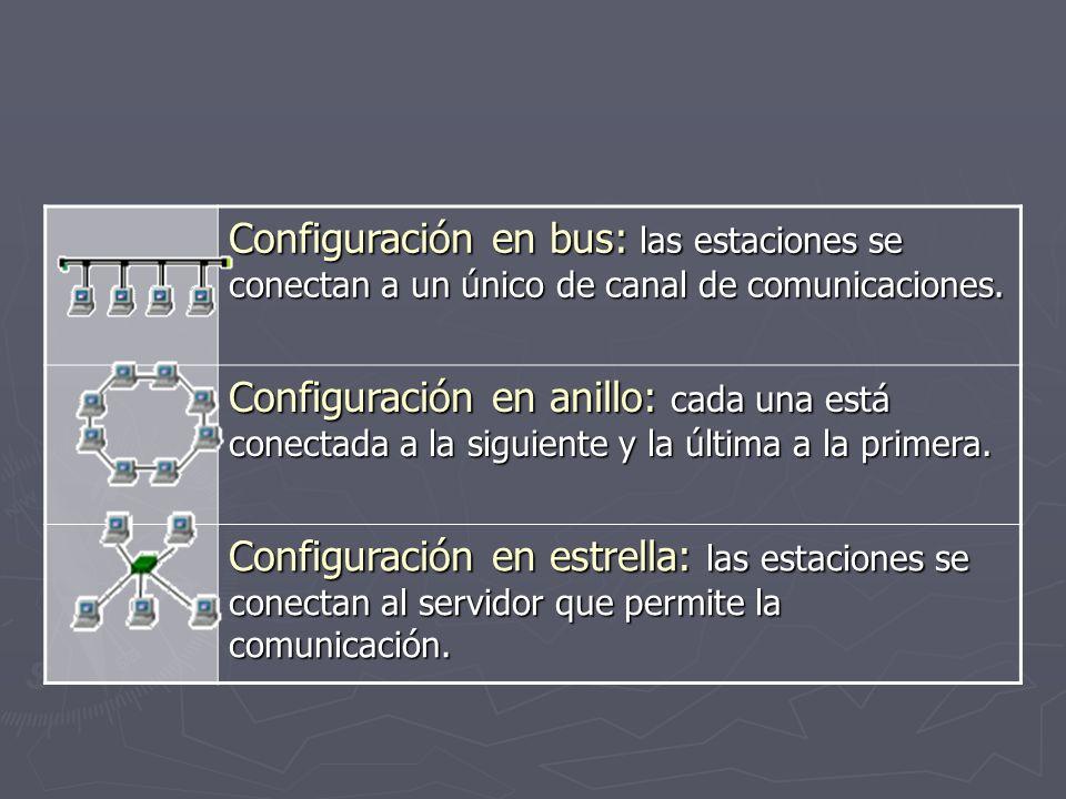 Configuración en bus: las estaciones se conectan a un único de canal de comunicaciones. Configuración en anillo: cada una está conectada a la siguient