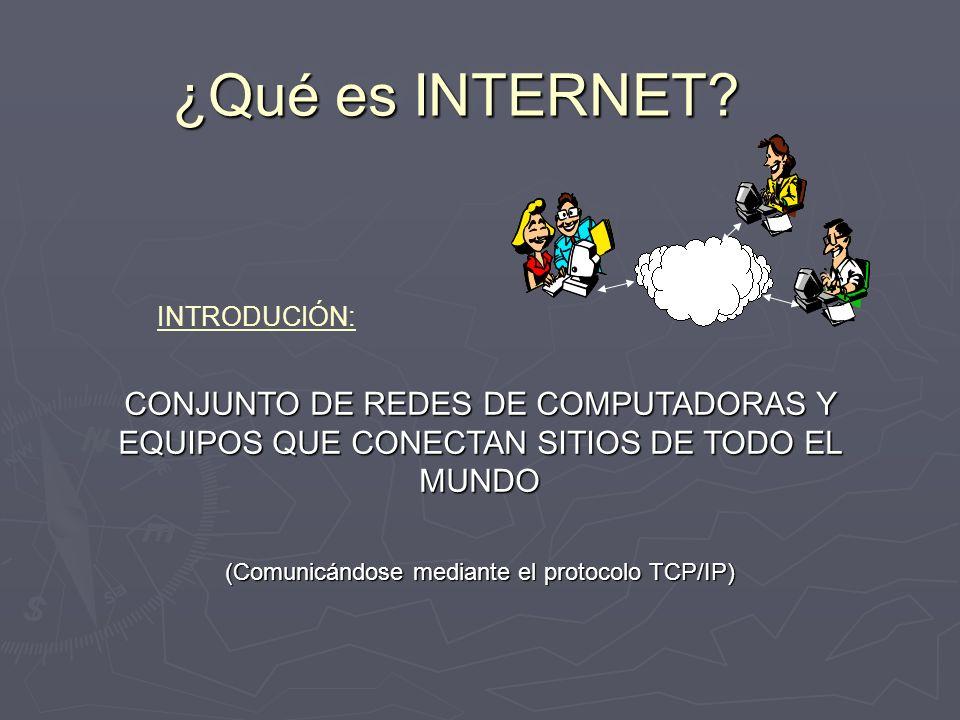 ¿Qué es INTERNET? CONJUNTO DE REDES DE COMPUTADORAS Y EQUIPOS QUE CONECTAN SITIOS DE TODO EL MUNDO (Comunicándose mediante el protocolo TCP/IP) INTROD