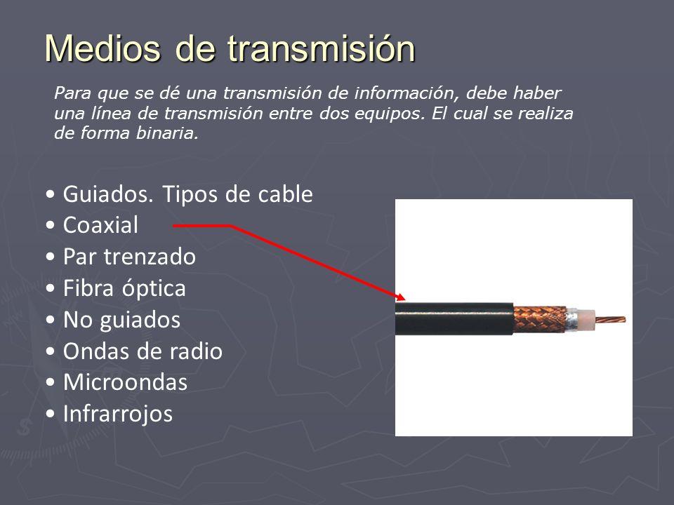 Medios de transmisión Guiados. Tipos de cable Coaxial Par trenzado Fibra óptica No guiados Ondas de radio Microondas Infrarrojos Para que se dé una tr