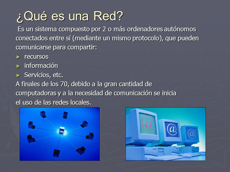 ¿Qué es una Red? Es un sistema compuesto por 2 o más ordenadores autónomos conectados entre sí (mediante un mismo protocolo), que pueden comunicarse p