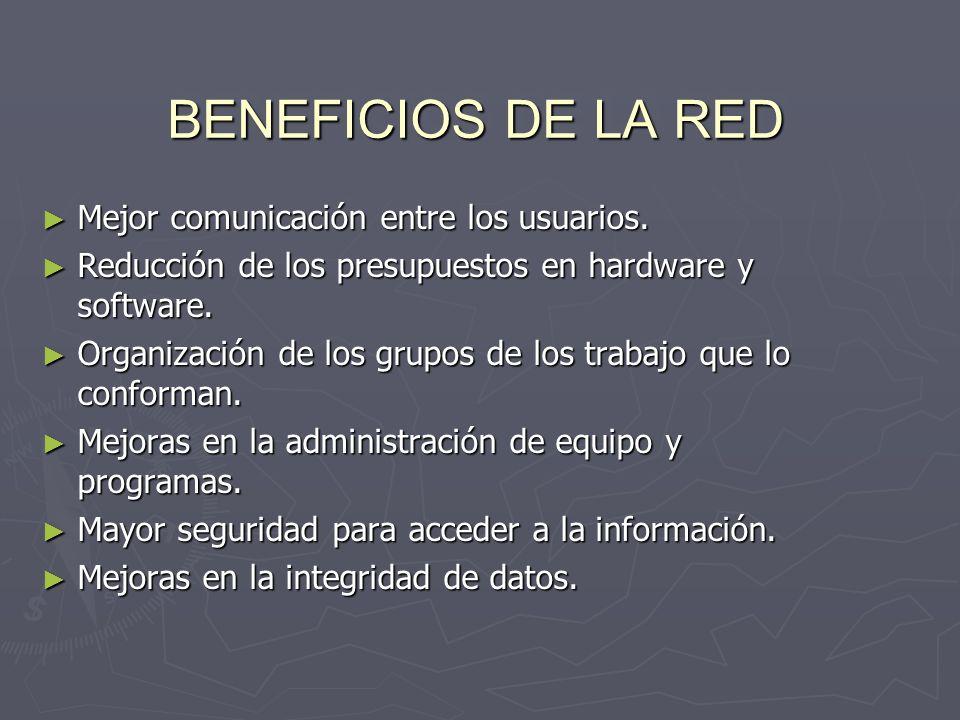 BENEFICIOS DE LA RED Mejor comunicación entre los usuarios. Mejor comunicación entre los usuarios. Reducción de los presupuestos en hardware y softwar