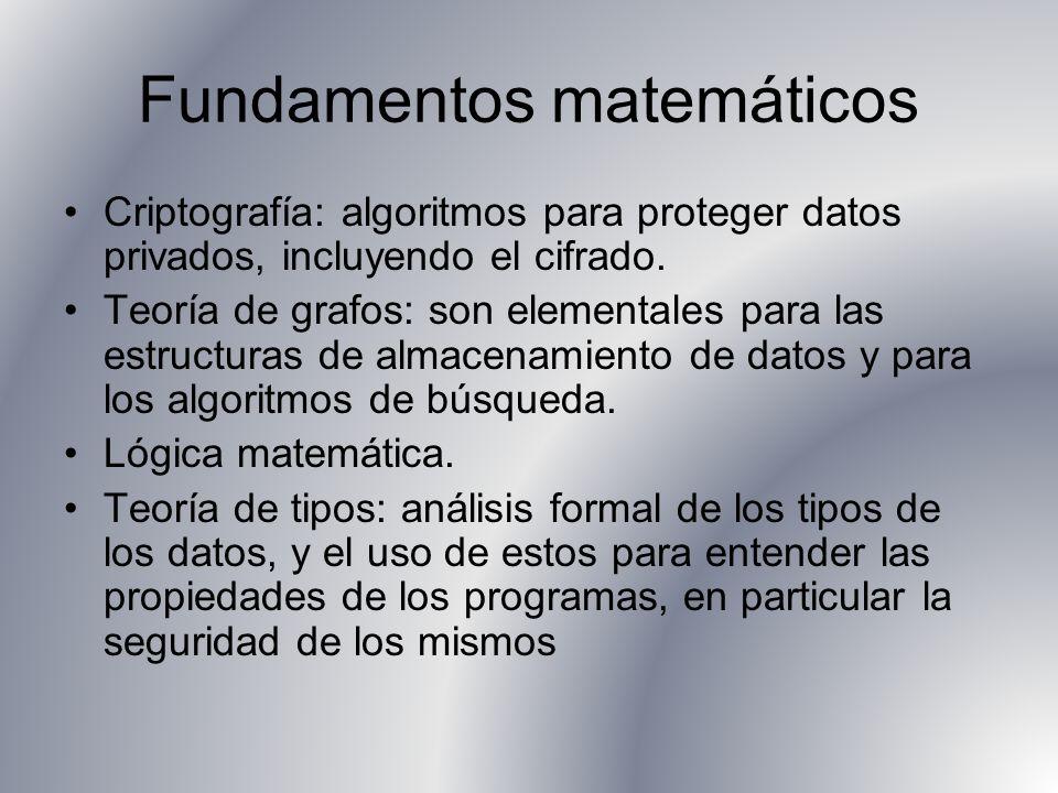 Fundamentos matemáticos Criptografía: algoritmos para proteger datos privados, incluyendo el cifrado. Teoría de grafos: son elementales para las estru