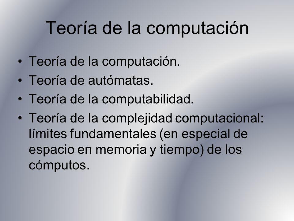 Teoría de la computación Teoría de la computación. Teoría de autómatas. Teoría de la computabilidad. Teoría de la complejidad computacional: límites f