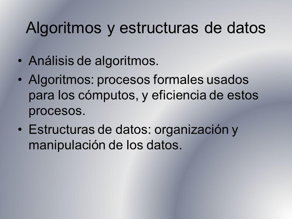 Algoritmos y estructuras de datos Análisis de algoritmos. Algoritmos: procesos formales usados para los cómputos, y eficiencia de estos procesos. Estr
