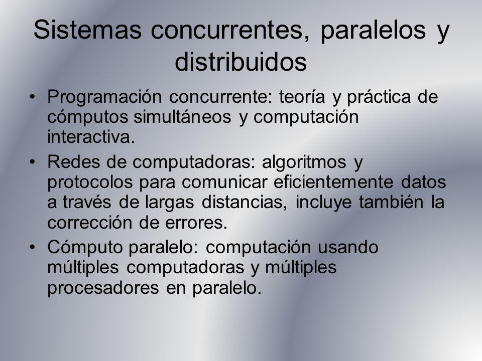 Sistemas concurrentes, paralelos y distribuidos Programación concurrente: teoría y práctica de cómputos simultáneos y computación interactiva. Redes d