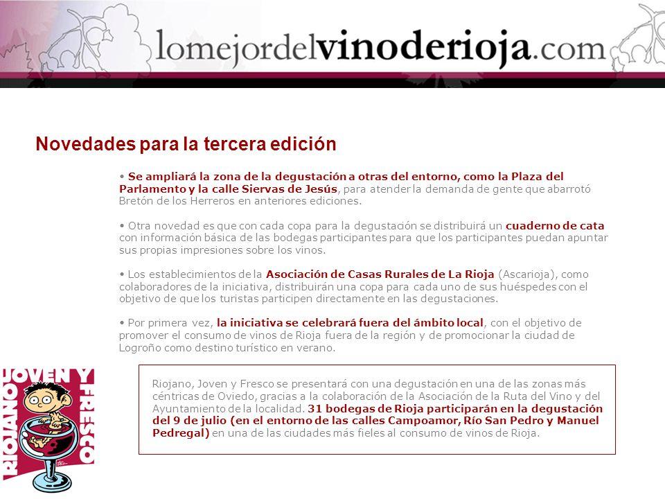 Bodegas AGE (Fuenmayor) Bodegas Alabanza (Agoncillo) Bodegas Bretón (Navarrete) Bodegas Carlos Serres (Haro) Bodega Classica (San Vicente) Bodegas César del Río (Cordovín).