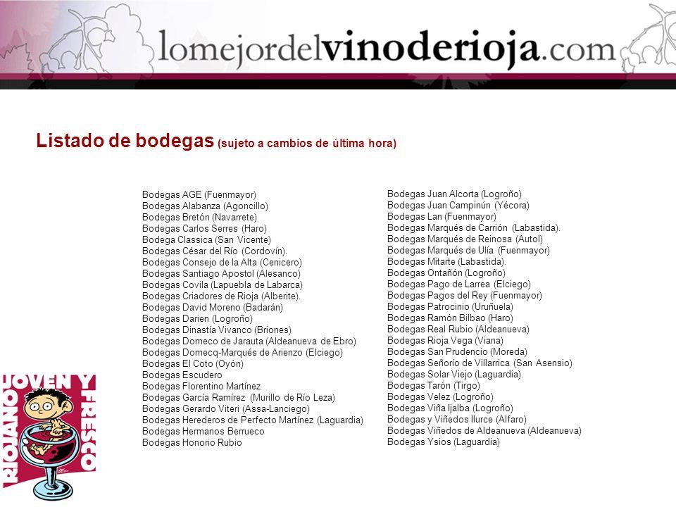 Bodegas AGE (Fuenmayor) Bodegas Alabanza (Agoncillo) Bodegas Bretón (Navarrete) Bodegas Carlos Serres (Haro) Bodega Classica (San Vicente) Bodegas Cés