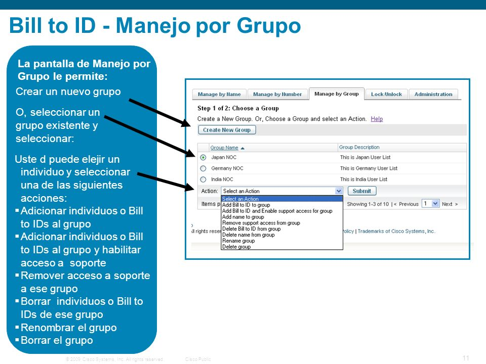 © 2009 Cisco Systems, Inc. All rights reserved.Cisco Public 11 Bill to ID - Manejo por Grupo La pantalla de Manejo por Grupo le permite: Crear un nuev