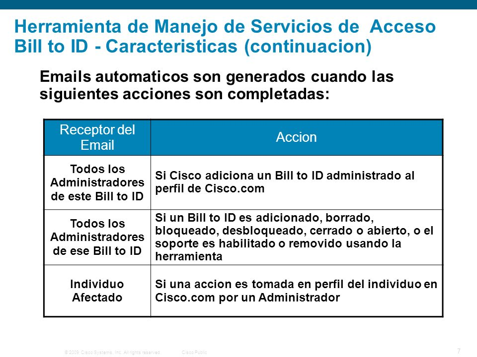 © 2009 Cisco Systems, Inc. All rights reserved.Cisco Public 7 Herramienta de Manejo de Servicios de Acceso Bill to ID - Caracteristicas (continuacion)