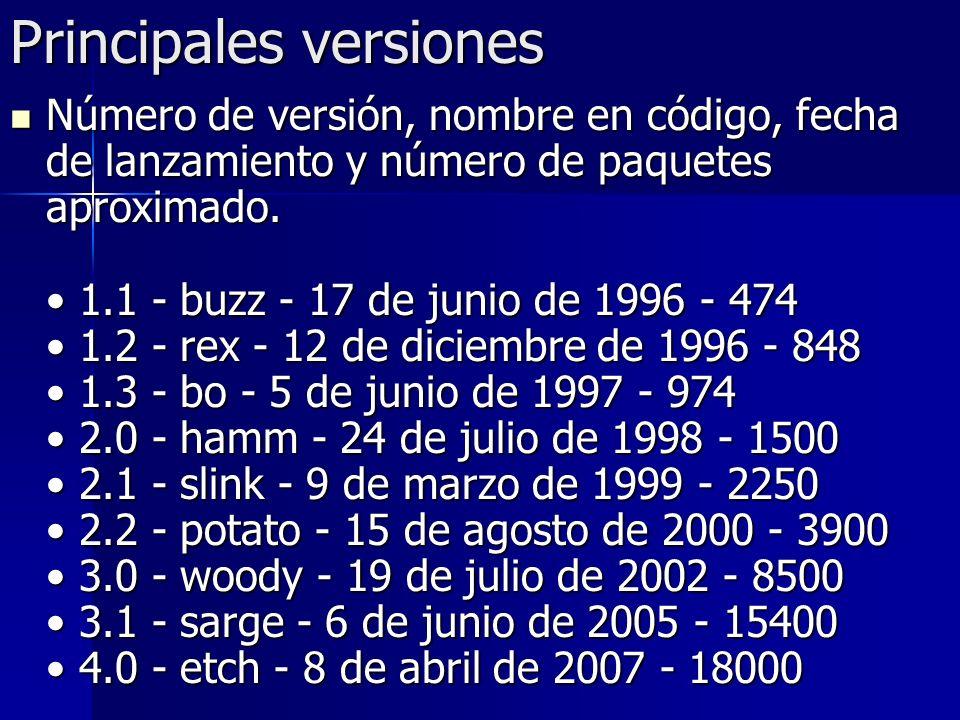 Principales versiones Número de versión, nombre en código, fecha de lanzamiento y número de paquetes aproximado. 1.1 - buzz - 17 de junio de 1996 - 47