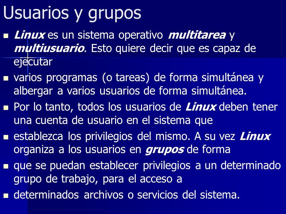 Usuarios y grupos Linux es un sistema operativo multitarea y multiusuario. Esto quiere decir que es capaz de ejecutar varios programas (o tareas) de f