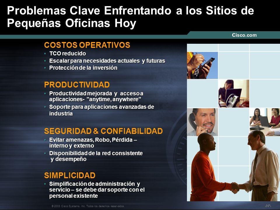Nº © 2003 Cisco Systems, Inc. Todos los derechos reservados. Problemas Clave Enfrentando a los Sitios de Pequeñas Oficinas Hoy PRODUCTIVIDAD Productiv