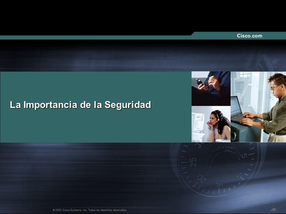 Nº © 2003 Cisco Systems, Inc. Todos los derechos reservados. La Importancia de la Seguridad 222 © 2003 Cisco Systems, Inc. Todos los derechos reservad