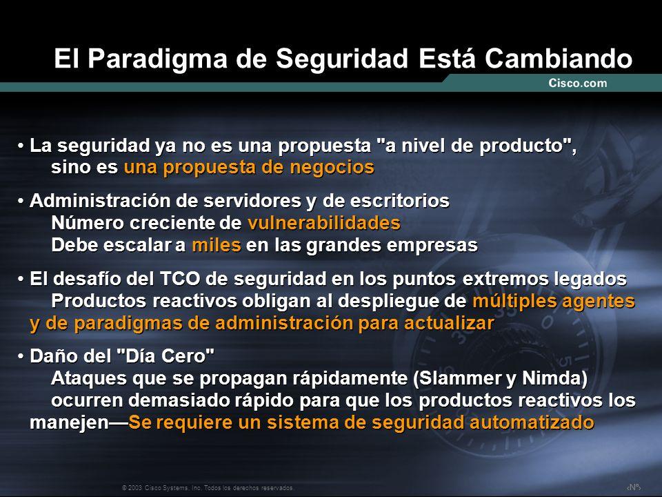 Nº © 2003 Cisco Systems, Inc. Todos los derechos reservados. El Paradigma de Seguridad Está Cambiando La seguridad ya no es una propuesta