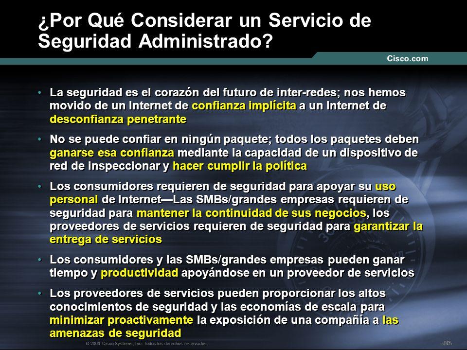 Nº © 2003 Cisco Systems, Inc. Todos los derechos reservados. ¿Por Qué Considerar un Servicio de Seguridad Administrado? La seguridad es el corazón del