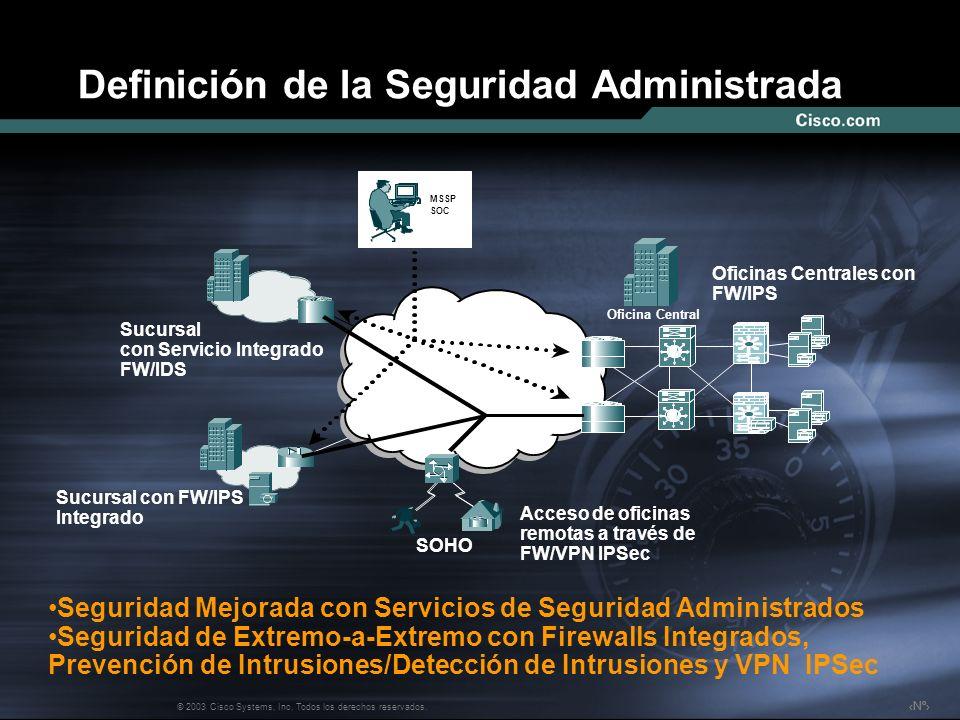 Nº © 2003 Cisco Systems, Inc. Todos los derechos reservados. Definición de la Seguridad Administrada Oficinas Centrales con FW/IPS Sucursal con Servic