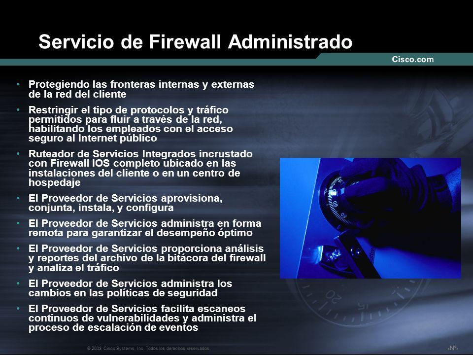 Nº © 2003 Cisco Systems, Inc. Todos los derechos reservados. Servicio de Firewall Administrado Protegiendo las fronteras internas y externas de la red