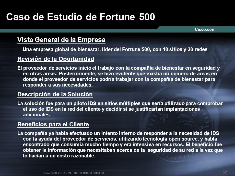 Nº © 2003 Cisco Systems, Inc. Todos los derechos reservados. Caso de Estudio de Fortune 500 Vista General de la Empresa Una empresa global de bienesta