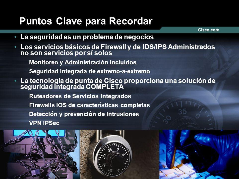 Nº © 2003 Cisco Systems, Inc. Todos los derechos reservados. Puntos Clave para Recordar La seguridad es un problema de negocios Los servicios básicos