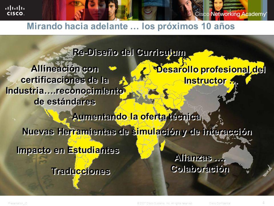 Presentation_ID 4 © 2007 Cisco Systems, Inc. All rights reserved.Cisco Confidential Mirando hacia adelante … los próximos 10 años Re-Diseño del Curric