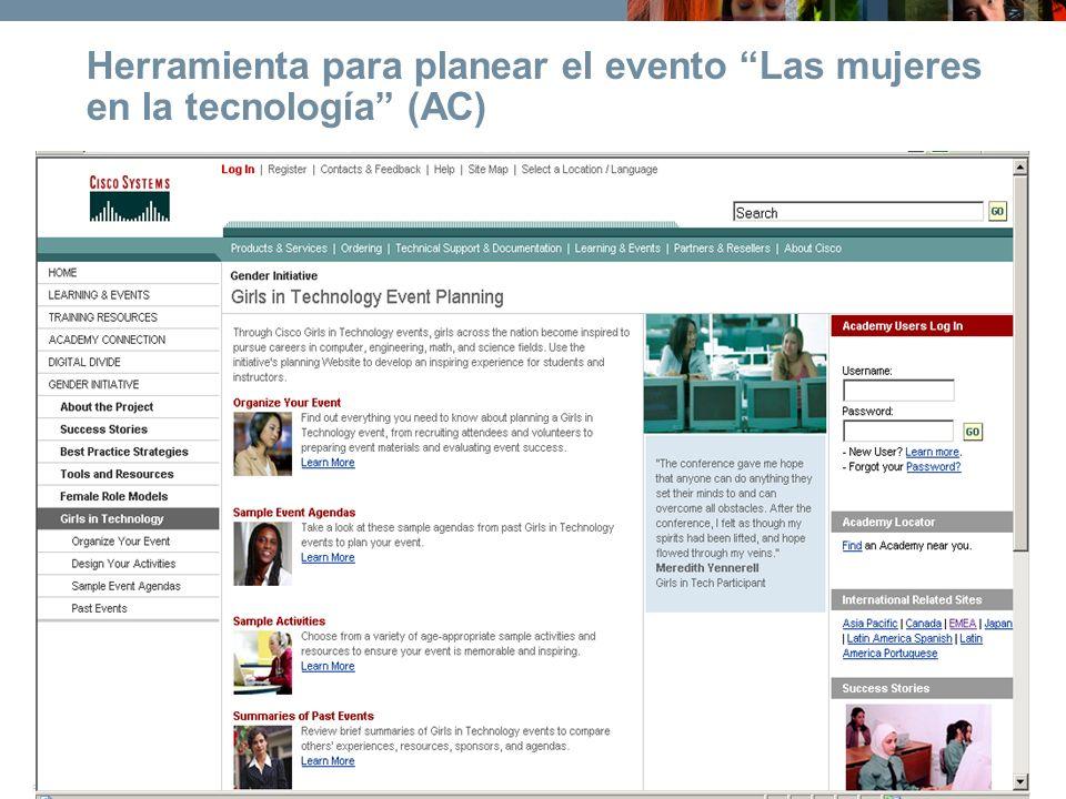 © 2006 Cisco Systems, Inc. All rights reserved.Cisco ConfidentialPresentation_ID 14 Herramienta para planear el evento Las mujeres en la tecnología (A