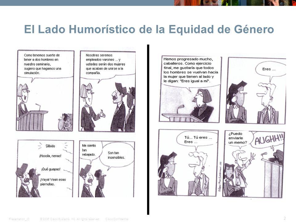© 2006 Cisco Systems, Inc. All rights reserved.Cisco ConfidentialPresentation_ID 2 El Lado Humorístico de la Equidad de Género