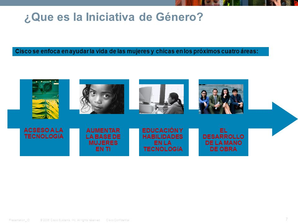 © 2006 Cisco Systems, Inc. All rights reserved.Cisco ConfidentialPresentation_ID 7 ¿Que es la Iniciativa de Género? Cisco se enfoca en ayudar la vida