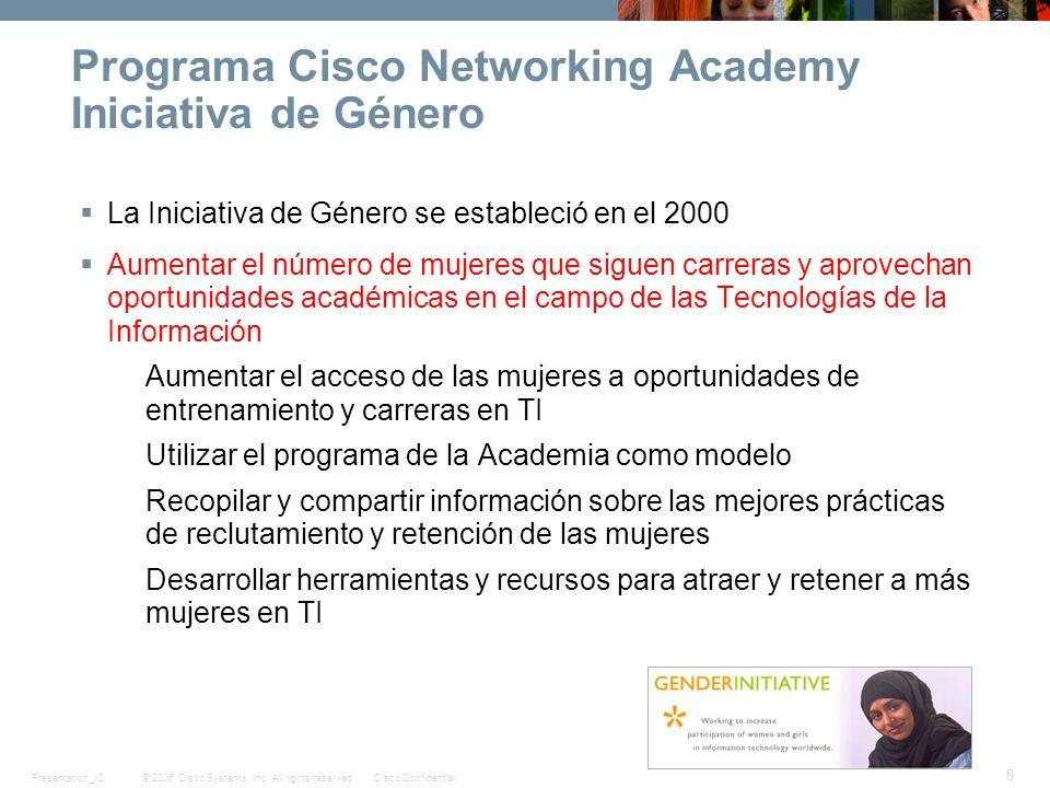 © 2006 Cisco Systems, Inc. All rights reserved.Cisco ConfidentialPresentation_ID 8 Programa Cisco Networking Academy Iniciativa de Género La Iniciativ