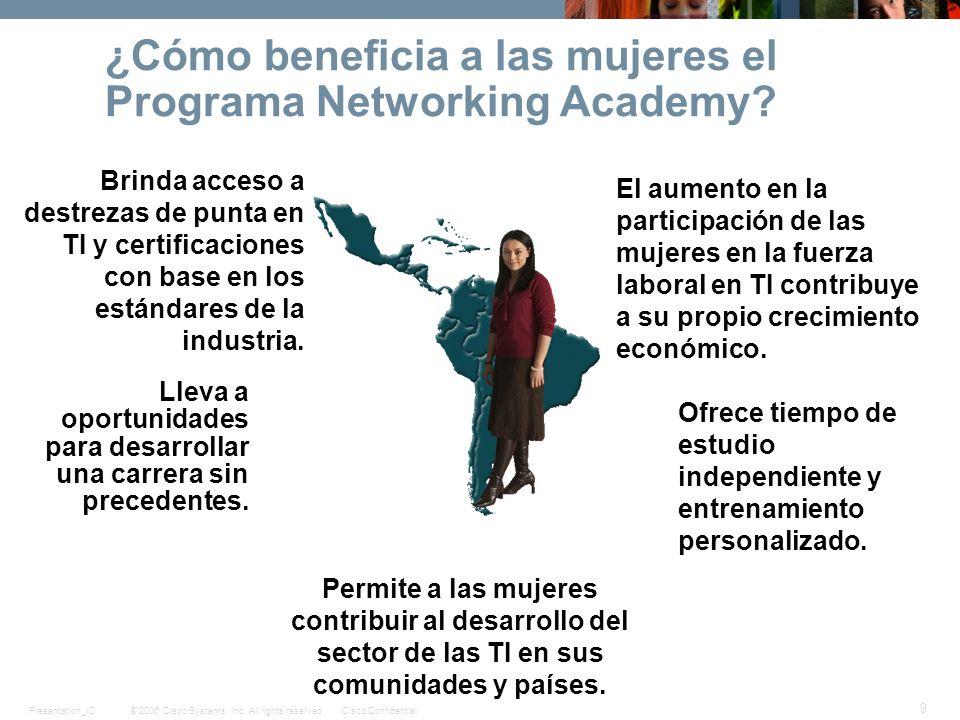 © 2006 Cisco Systems, Inc. All rights reserved.Cisco ConfidentialPresentation_ID 9 ¿Cómo beneficia a las mujeres el Programa Networking Academy? Brind