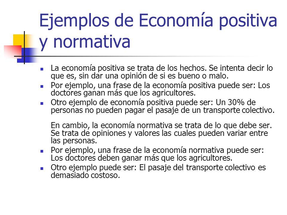 Ejemplos de Economía positiva y normativa La economía positiva se trata de los hechos. Se intenta decir lo que es, sin dar una opinión de si es bueno
