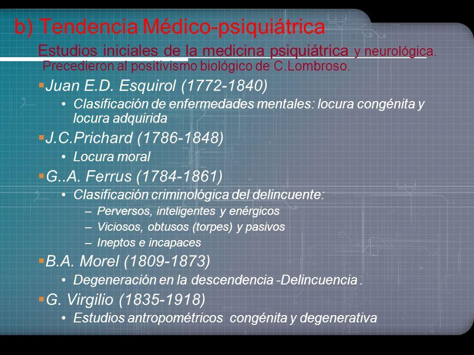 Fase Protocriminológica (S.XVIII- XIX) Estudios iniciales de la psiquiatría y neurología. Ideas cuasicriminológicos, unilaterales con rasgos científic