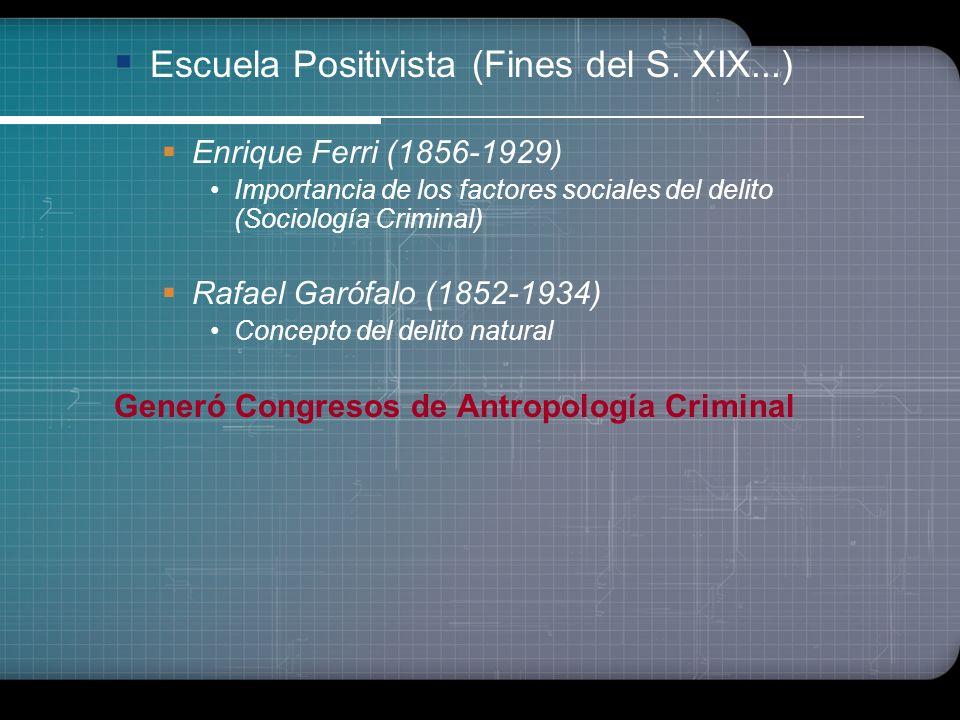 c) Escuela Positivista (Fines del S. XIX hasta inicios del XX) ERA LOMBROSIANA Manuel Grosso Determinismo biológico y social del crimen El interés cri