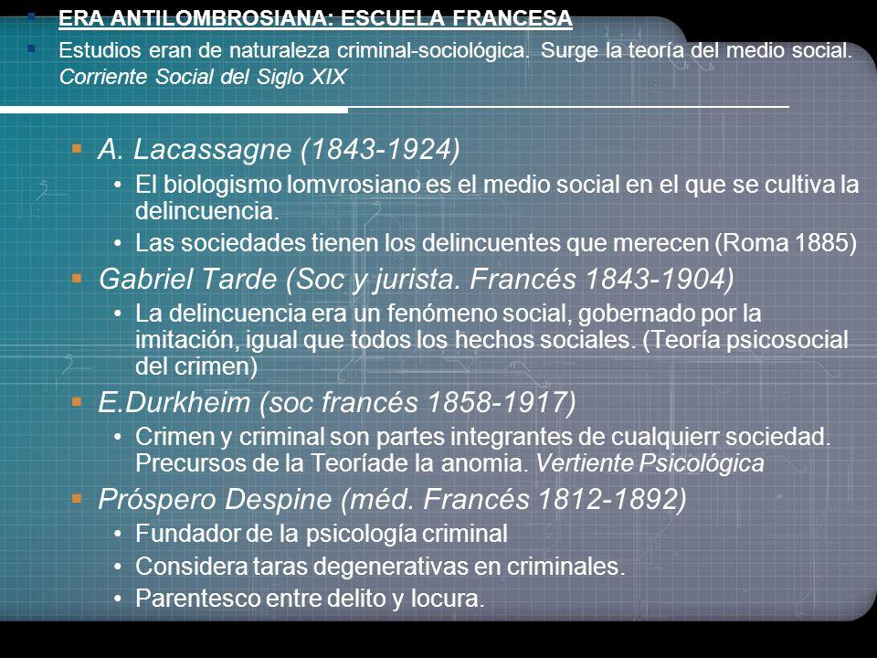 Escuela Positivista (Fines del S. XIX...) Enrique Ferri (1856-1929) Importancia de los factores sociales del delito (Sociología Criminal) Rafael Garóf