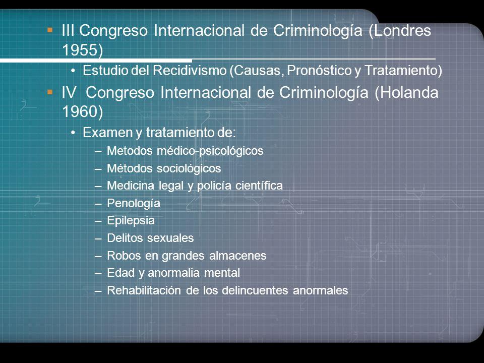 Período de la Consolidación Criminológica Etiologísta Estudios consistentes. Supera el unilateralismo Estudios sociológicos acrecentados II Congreso I