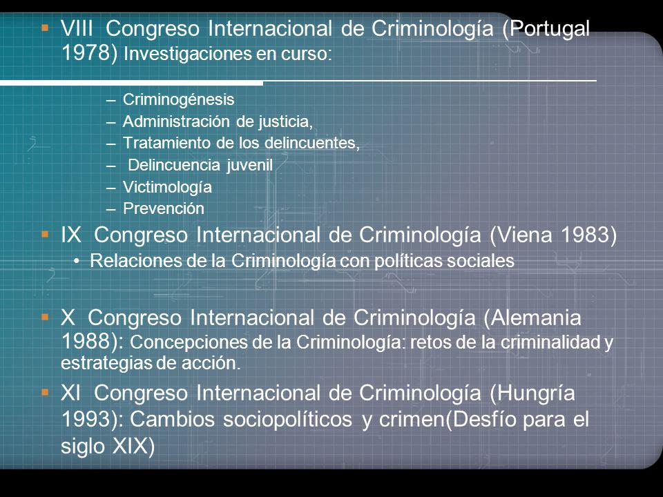 V Congreso Internacional de Criminología (Montreal 1965).: Tratamiento de los delincuentes –Profilaxis y tratamiento –Métodos de tratamiento –Investig