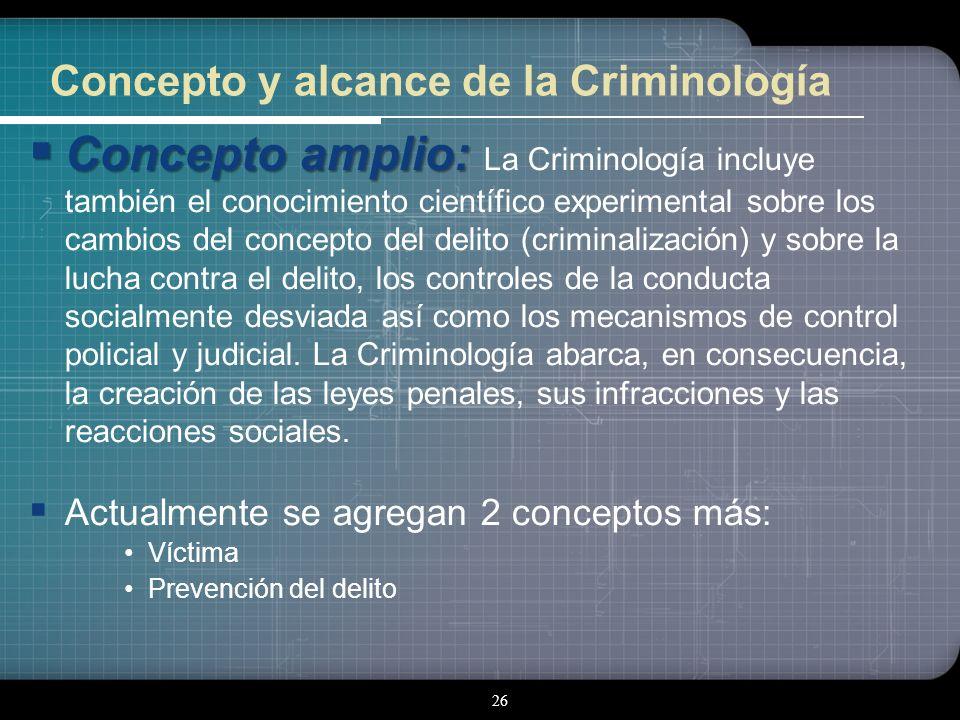 25 CONCEPTO Y ALCANCE DE LA CRIMINOLOGÍA Concepto restrictivo: Concepto restrictivo: La Criminología se limita a la investigación empírica del delito