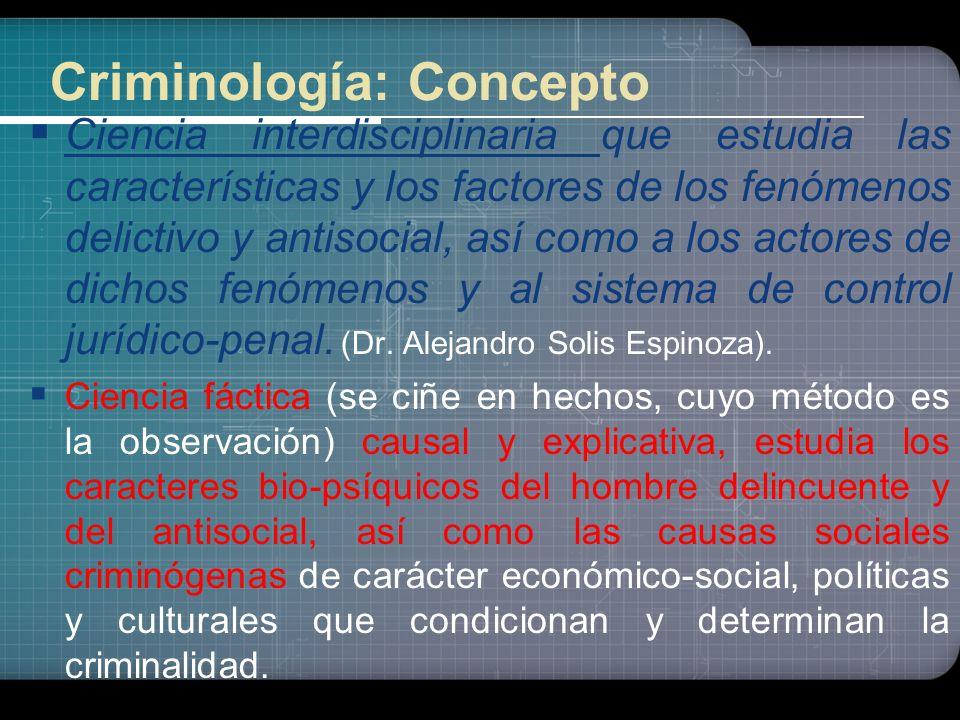 26 Concepto y alcance de la Criminología Concepto amplio: Concepto amplio: La Criminología incluye también el conocimiento científico experimental sob