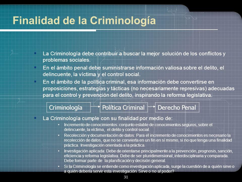 30 B. Objeto de la Criminología El control social: El control social: El análisis científico del control social del comportamiento desviado ha ampliad