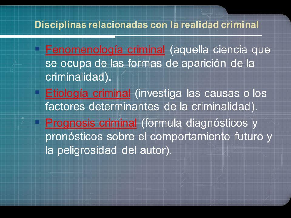 Criminología y su Vínculo con otras Ciencias Esta ciencia utiliza un método empírico, este método convertirá en imprescindible un principio de pluridi