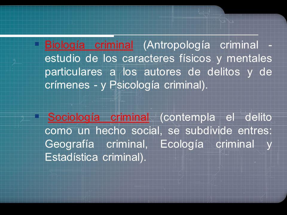 Disciplinas relacionadas con la realidad criminal Fenomenología criminal (aquella ciencia que se ocupa de las formas de aparición de la criminalidad).