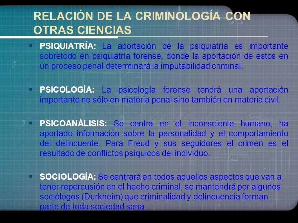 Disciplinas relacionadas con la represión y prevención del delito: Penología (es la ciencia que tiene por objeto el estudio de los diversos medios de