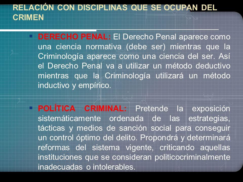 RELACIÓN DE LA CRIMINOLOGÍA CON OTRAS CIENCIAS PSIQUIATRÍA: La aportación de la psiquiatría es importante sobretodo en psiquiatría forense, donde la a