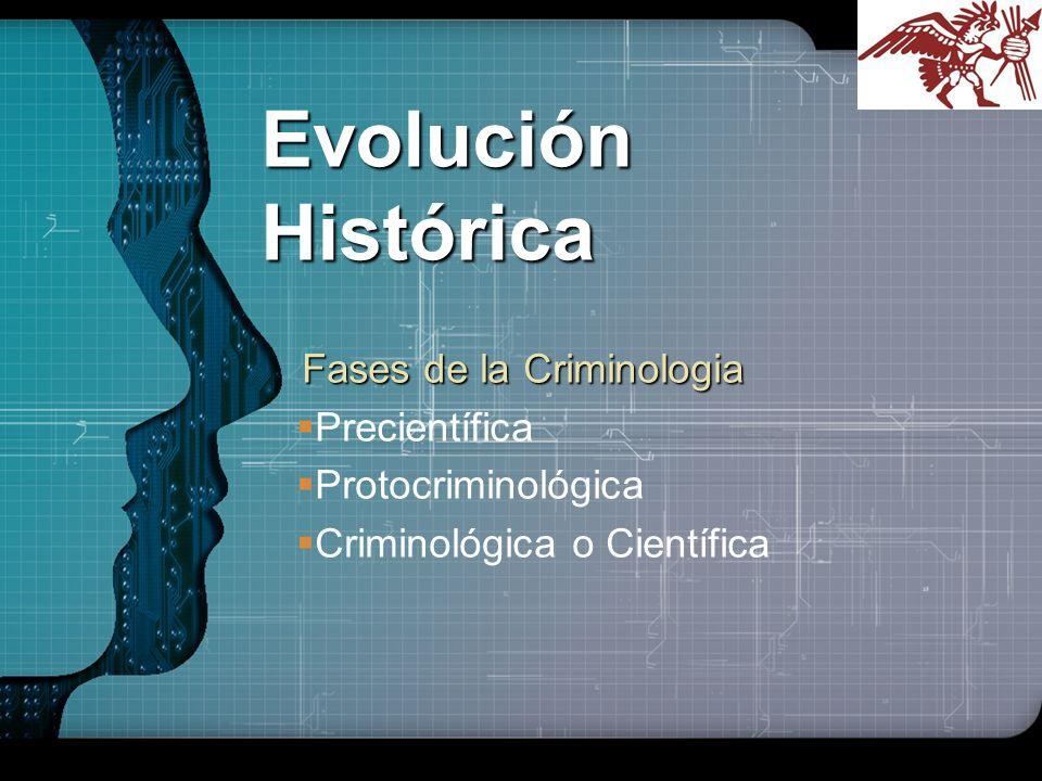 LOGO Evolución Histórica Fases de la Criminologia Fases de la Criminologia Precientífica Protocriminológica Criminológica o Científica