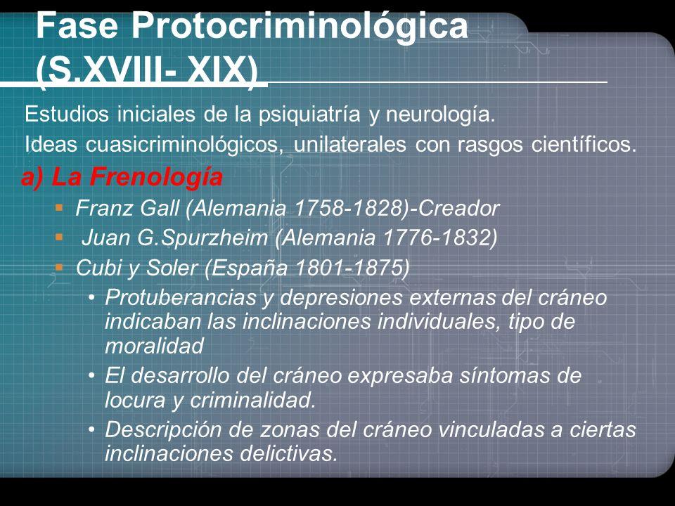 Fase Protocriminológica (S.XVIII- XIX) Estudios iniciales de la psiquiatría y neurología.